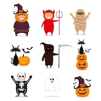 Happy halloween big set mit kindern in kostümen auf weißem hintergrund vektor-illustration isoliert