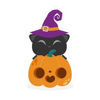 Happy halloween black cat und pumpkin patch jack o lantern party süßes oder saures hintergrund flach