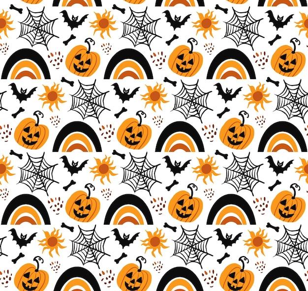 Happy halloween boho abstrakte nahtlose muster. böhmischer mystischer magischer druckhandzeichnungsstil. kreative zeitgenössische ästhetische gekritzel endlose textur, hintergrund. vektor-illustration