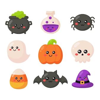 Happy halloween cartoon einfache elemente isoliert auf weißem hintergrund