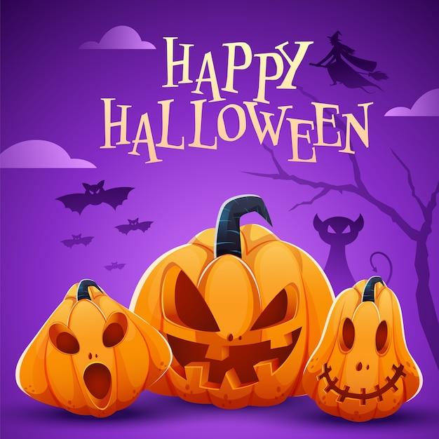 Happy halloween celebration poster mit jack-o-laternen, gruseliger katze, hexe und fledermäusen, die auf lila hintergrund fliegen.