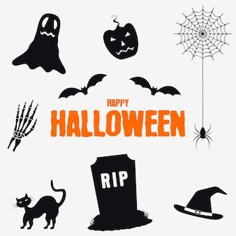 Happy halloween dekorationselemente set sammlung von halloween silhouetten icons