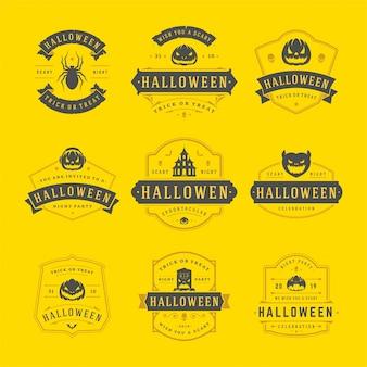 Happy halloween-etiketten und abzeichen festgelegt