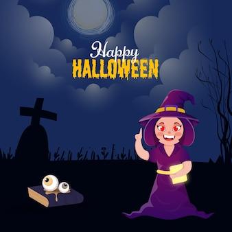 Happy halloween-feier-konzept mit cartoon-hexe-charakter auf vollmond-friedhofs-hintergrund.