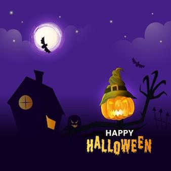 Happy halloween-feier-konzept mit jack-o-lantern wear hexenhut, haus und fledermäuse fliegen auf lila vollmond hintergrund.