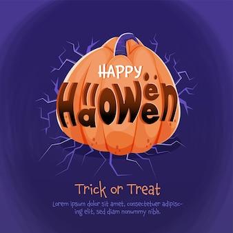 Happy halloween font mit kürbis und zweigen auf blauem hintergrund für süßes oder saures.
