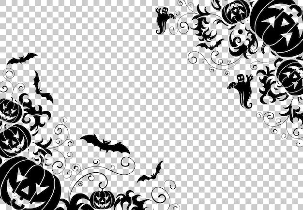 Happy halloween frame mit fledermäusen, geist, blumenmuster und halloween-kürbissen. vektorillustration auf transparentem hintergrund