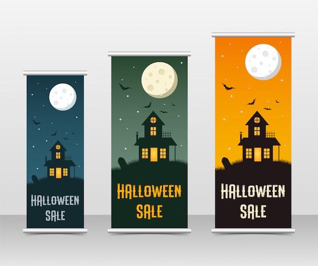 Happy halloween-geschäft roll-up-vorlagensatz,