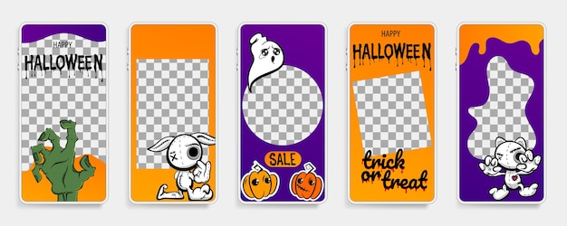 Happy halloween-geschichten-vorlage für telefonfoto