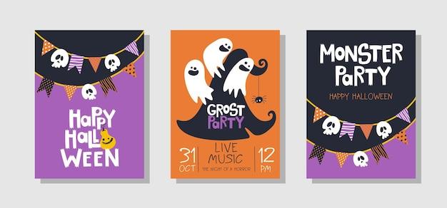 Happy halloween-gruß-set-karte
