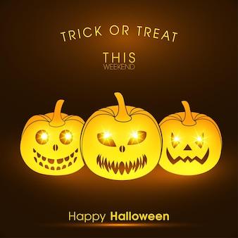 Happy halloween-grußkarte für die feier des festivals Premium Vektoren