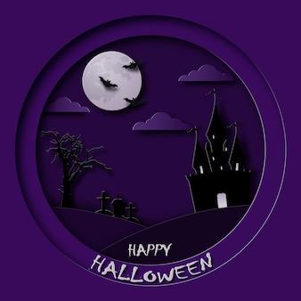 Happy halloween grußkarte im scherenschnitt-stil schlossfriedhof fledermäuse und mond am nachthimmel