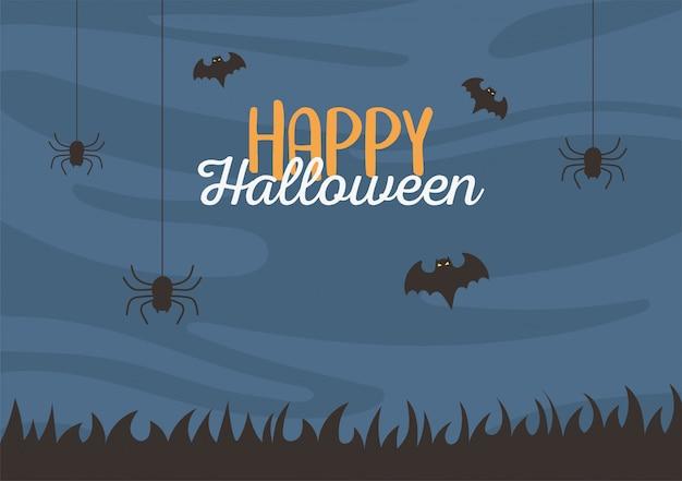 Happy halloween, hängende spinnen und fledermäuse nacht trick oder behandeln party feier vektor-illustration