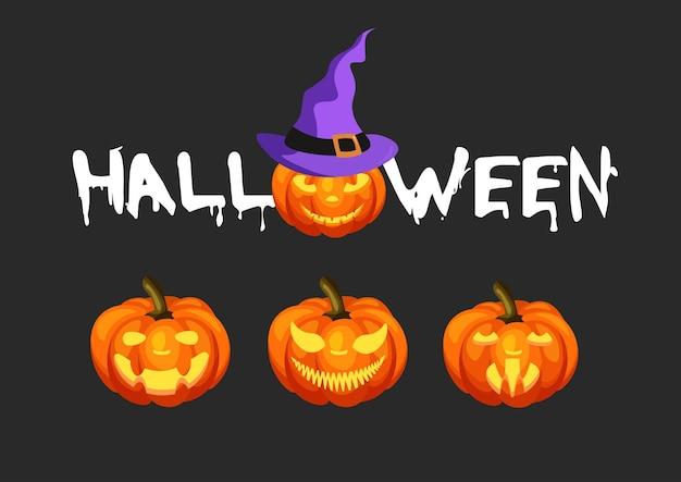 Happy halloween handgezeichnete kalligraphie und kürbis mit ausgeschnittener grimasse isoliert auf schwarzem hintergrund