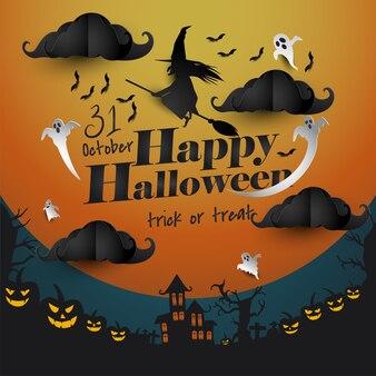 Happy halloween hexe hintergrund