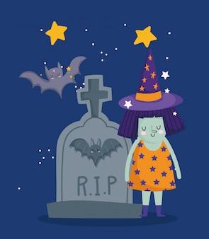 Happy halloween, hexenkostüm grabstein fledermäuse nachtsterne süßes oder saures party feier illustration