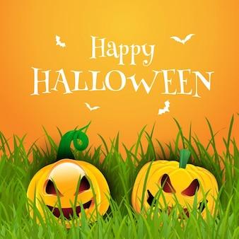 Happy halloween hintergrund mit kürbisse im gras gelegen