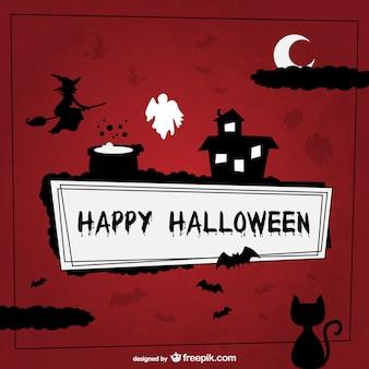 Happy halloween hintergrund mit silhouetten