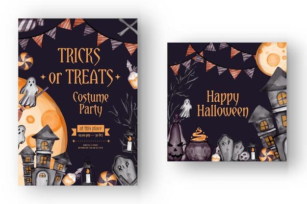 Happy halloween-hintergrund und party-einladungs-flyer-vorlage mit horrorsymbolen kürbisknochen schädel halloween-hintergrund