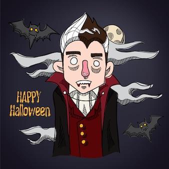 Happy halloween hübsche vampir-cartoon-figur
