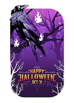 Happy halloween krähe vektor-illustration, krähe auf dem friedhof