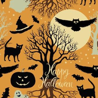Happy halloween, kürbisse, fledermäuse und katzen. schwarze bäume und ein heller mond auf einem gelben hintergrund