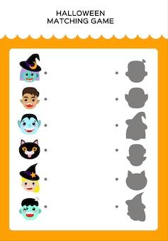 Happy halloween matching-spiel für kinder. bildungsspiel für kinder. kombiniere monster und schatten. vektor.