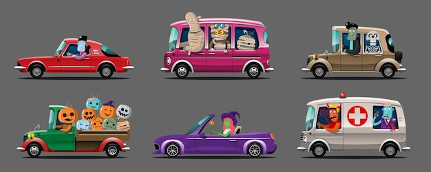Happy halloween monster charakter auto set
