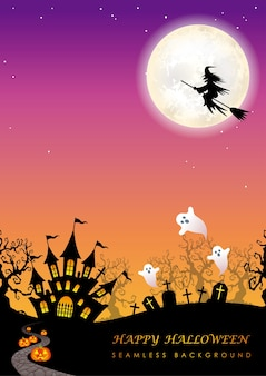 Happy halloween nahtlose illustration mit dem mond