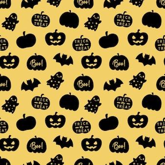 Happy halloween nahtlose muster auf goldgrund.