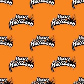 Happy halloween nahtlose muster illustration mit friedhof auf orange hintergrund.