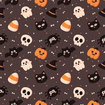 Happy halloween nahtloses muster auf grauem hintergrund