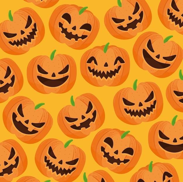 Happy halloween nahtloses muster mit gruseligen kürbissen