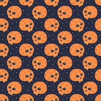 Happy halloween nahtloses muster mit totenköpfen.