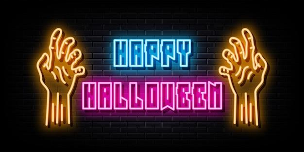 Happy halloween neon signs vector design template neon style