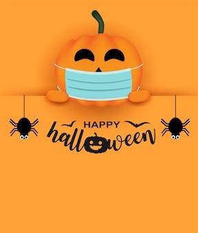 Happy halloween neues normales konzept. design mit halloween-kürbis in einer medizinischen schutzmaske und spinne auf orangefarbenem hintergrund. vektor.