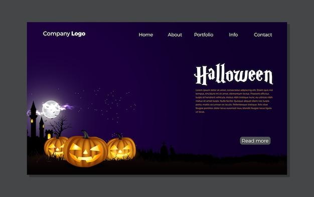 Happy halloween night szene landing page