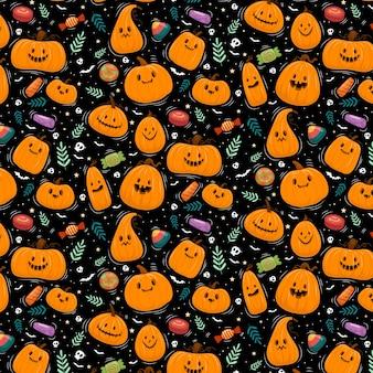 Happy halloween oder partyeinladungshintergrund mit kürbissen