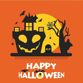Happy halloween orange card