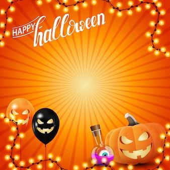 Happy halloween orange vorlage mit girlande