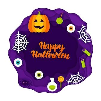 Happy halloween papercut-konzept. vektor-illustration. süßes oder saures.