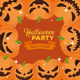 Happy halloween party banner mit rahmen von kürbissen