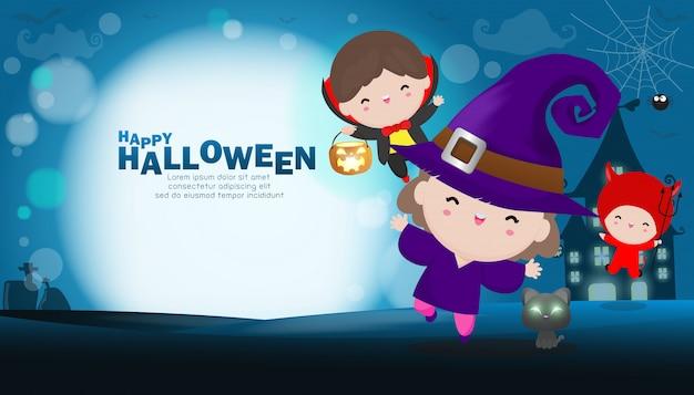 Happy halloween party kinder kostüm. gruppe von kindern im halloween-cosplay.