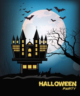 Happy halloween-party mit fledermäusen fliegen