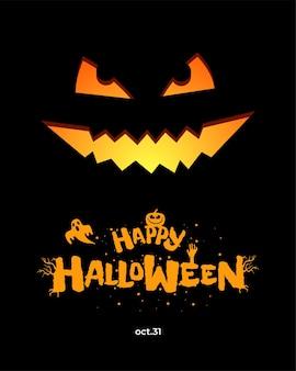 Happy halloween party poster design-vorlage jack o lantern kürbis und handgezeichnete inschrift