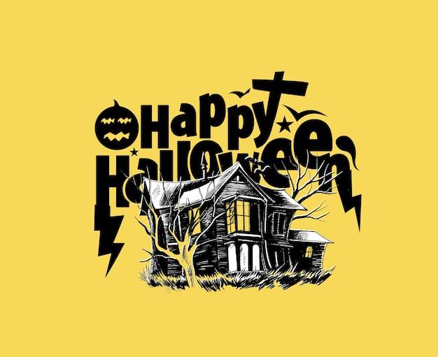 Happy halloween party scary bauernhaus - halloween banner oder poster.
