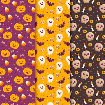 Happy halloween patterns pack