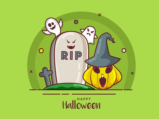 Happy halloween poster design mit rip stone, cartoon ghosts und jack-o-lantern mit hexenhut auf grünem hintergrund.