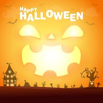 Happy halloween poster party kürbisbeet im mondschein bokeh