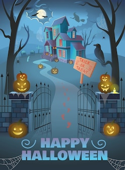 Happy halloween poster. spukhaus mit tor, kürbisse,